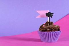 与拷贝空间的毕业典礼举行日桃红色和紫色党杯形蛋糕 免版税库存照片
