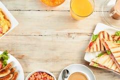 与拷贝空间的热诚的英式早餐边界 免版税图库摄影