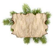 与拷贝空间的老羊皮纸在圣诞树分支bac 库存图片