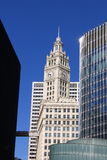 芝加哥里格利大厦和摩天大楼 库存照片