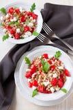 与拼写的沙拉, rucola,西红柿,希腊乳酪希脂乳 免版税库存照片