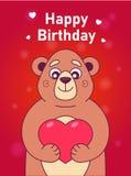 与拿着在红色背景的一头逗人喜爱的熊的卡片心脏 库存例证