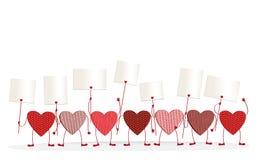 与拿着空的空白页的腿和手的红色心脏 免版税库存照片
