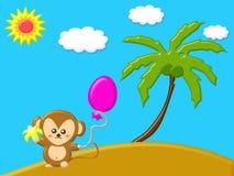 与拿着香蕉的猴子的自然概念和气球在海岛靠岸 库存图片