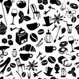 与拿铁,热奶咖啡,饼,多福饼的无缝的咖啡样式, 免版税库存图片