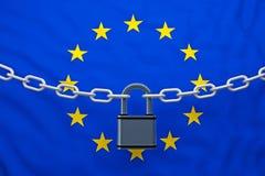 与挂锁的欧洲旗子闭链 皇族释放例证