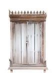 与挂锁的老内阁木头在白色背景,被隔绝 库存图片