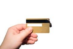 与挂锁的银行卡在手中 库存照片