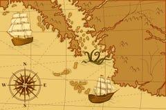 与指南针和船的老地图 免版税库存图片