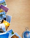 与指南针的旅行的照片拼贴画在桌上 免版税库存照片