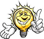 与指向手指动画片的愉快的电灯泡 免版税库存图片