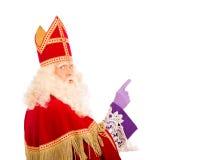 与指向手指的Sinterklaas 库存图片