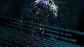 与指纹扫描的技术的商人注册 采指纹辨认个人,保安系统概念 影视素材