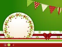 与按钮和旗布的圣诞节背景 免版税库存图片