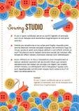 与按钮的缝合的演播室海报模板和缝合的项目 免版税图库摄影