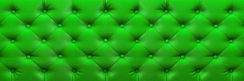 与按钮的水平的典雅的绿色皮革纹理backgr的 库存照片