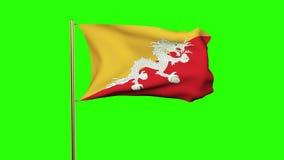 与挥动在风的云彩的不丹旗子 绿色 向量例证