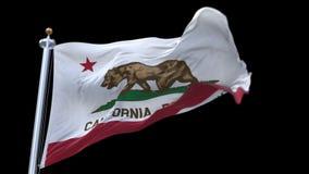 与挥动在风的旗杆的4k加利福尼亚共和国旗子 包括的阿尔法通道 向量例证