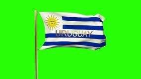 与挥动在风的标题的乌拉圭旗子 股票视频