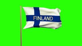 与挥动在风的标题的芬兰旗子 股票录像