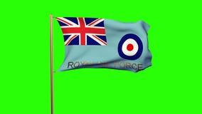 与挥动在风的标题的英国皇家空军旗子 股票视频
