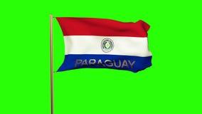与挥动在风的标题的巴拉圭旗子 股票录像