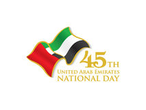 与挥动的旗子的阿拉伯联合酋长国第45国庆节商标 免版税库存图片