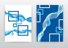 与挥动的线的蓝色白色框架为年终报告,小册子,飞行物,海报设计 挥动的被排行的背景传染媒介例证 库存图片