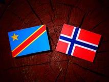 与挪威旗子的刚果民主共和国旗子在t 库存照片