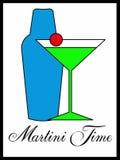 与振动器的马蒂尼鸡尾酒玻璃 库存例证