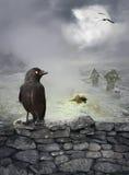 与掠夺的万圣夜神秘的背景在石墙上 免版税库存照片