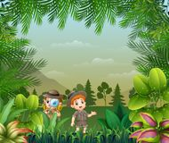 与探险家孩子的风景背景 皇族释放例证