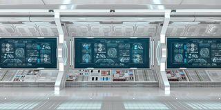 与控制板数字屏幕3D翻译的白色太空飞船内部 库存例证