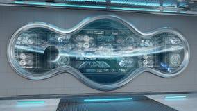 与控制板数字屏幕3D翻译的白色太空飞船内部 向量例证