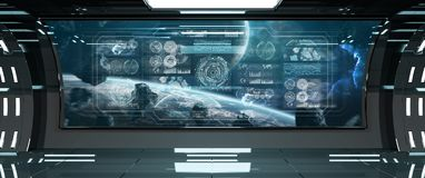与控制板数字式屏幕3D的黑暗的太空飞船内部关于 皇族释放例证