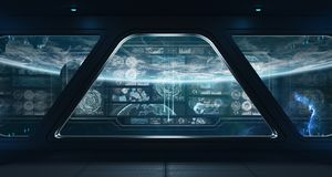 与控制板数字式屏幕3D的黑暗的太空飞船内部关于 库存例证