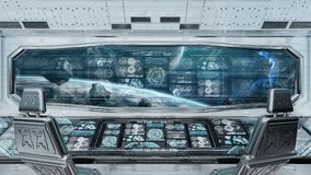 与控制板数字式屏幕3D r的白色太空飞船内部 皇族释放例证