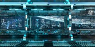 与控制板的蓝色太空飞船内部筛选3D翻译 库存例证