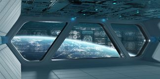 与控制板的蓝色太空飞船内部筛选3D翻译 皇族释放例证