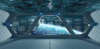与控制板的蓝色太空飞船内部筛选3D翻译 向量例证
