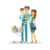 与推车购物在百货大楼,漫画人物买的事的白色家庭在商店 库存例证