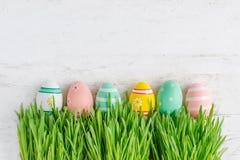 与掩藏在绿色gra的五颜六色的鸡蛋行的复活节背景  库存图片