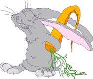 与掩藏在他的后面大红萝卜后的一只灰色兔子的图象的例证 字符 向量 免版税库存图片