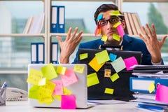 与提示笔记的商人在多任务概念 免版税库存照片