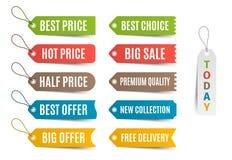 与提议和价牌的五颜六色的标签 也corel凹道例证向量 免版税图库摄影