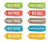 与提议和价牌的五颜六色的标签 也corel凹道例证向量 免版税库存照片