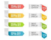 与提议和价牌的五颜六色的箭头 也corel凹道例证向量 免版税图库摄影