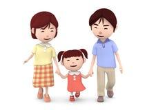 与握手一起的家庭步行 3d例证 皇族释放例证