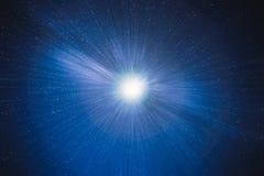 与搬入的行动的蓝星天空深深星系 免版税库存图片