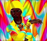与摆在反对明亮的抽象背景的非洲模型的五颜六色的秀丽和时尚数字式艺术场面 库存图片